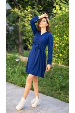 "Елегантна синя рокля с колан ""La festa"""