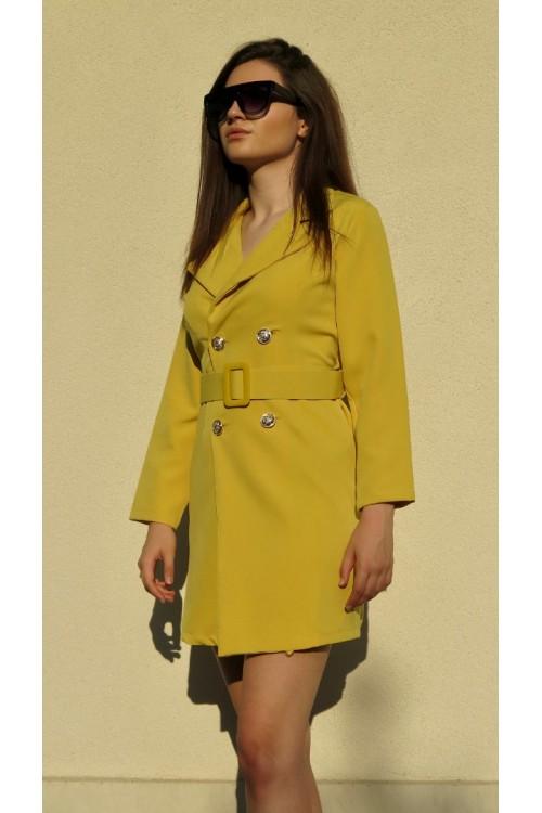 """Рокля тип сако с колан в жълт цвят """"Girasole"""""""