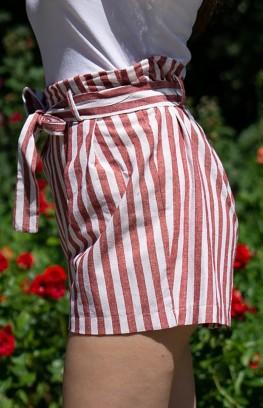 """Къси панталони от лен с колан """"Carino"""""""