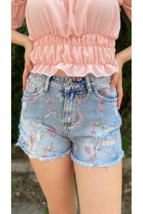 """Къси дънкови панталони с принт """"Butterfly"""""""