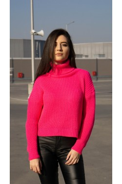 """Пуловер с поло яка """"Fuchsia"""""""