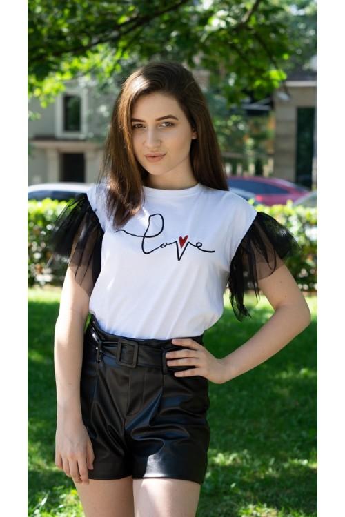 """Тениска с тюл ръкави """"Love"""""""