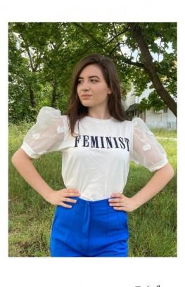 """Тениска със син надпис 'Feminist"""""""